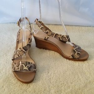 Cole Haan Snake Skin Strappy Sandal Wedges